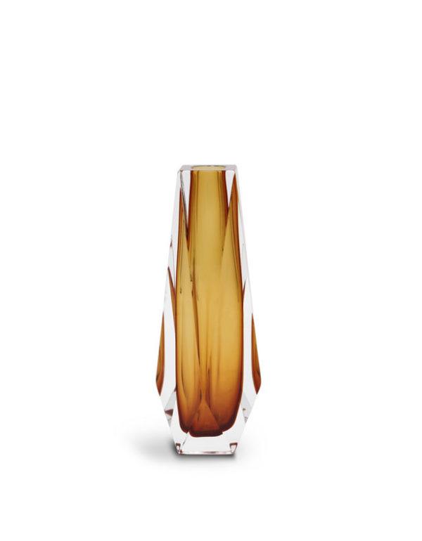 Amber Murano Glass Vase shaped Goccia.