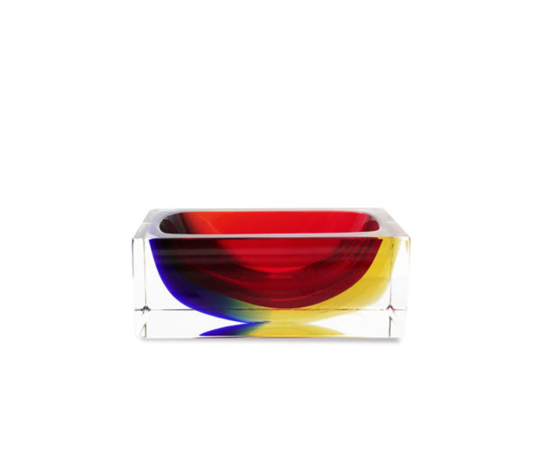 Acquamarine+Cobalt Murano Glass Square shaped Bowl. Handmade by Mandruzzato family. Gettable in 5 different sizes. M size in stock.