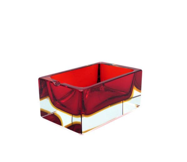 Murano Glass Rectangular Bowl Red+Amber by Mandruzzato